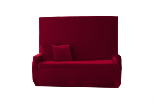 Red Velvet High Back Sofa