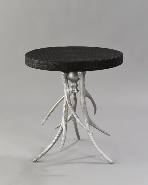 Silver Aspen Table with Black Croc Cover