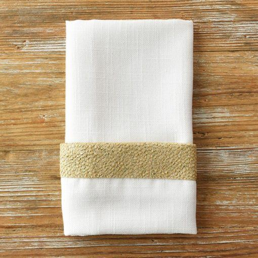 White Sand Gold Flake Trim Napkin