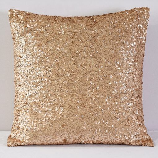 Champagne Sequin Taffeta Pillow