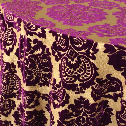 gold leaf and plum damask