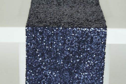 Navy Sequin Taffeta Runner