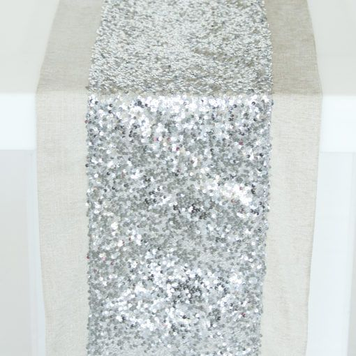 Silver Sequin Taffeta with Flax Metallic Burlap Border