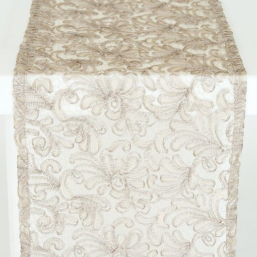 Taupe Victorian Lace Runner