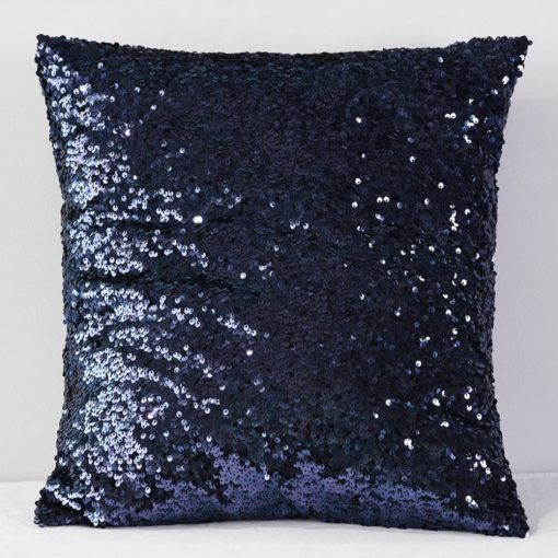 Navy Sequin Taffeta Pillow