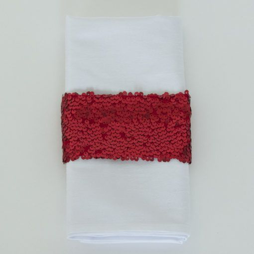 Red Sequin Taffeta - Napkin Band