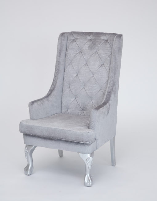 silver croc velvet high back chair