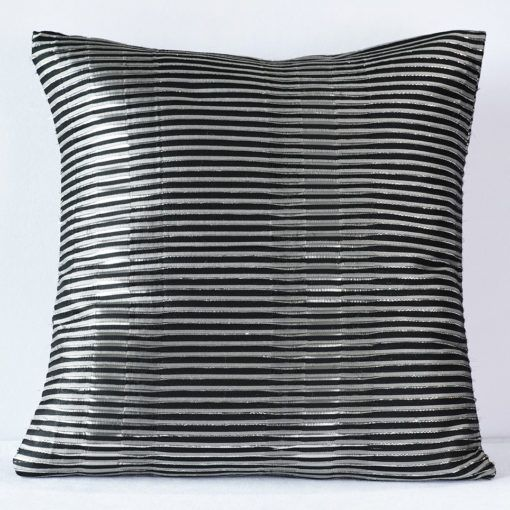 Black Metallic Stripe Pillow