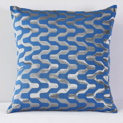 Blue and Silver Y Pillow