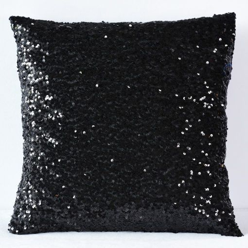 Black Sequin Taffeta Pillow