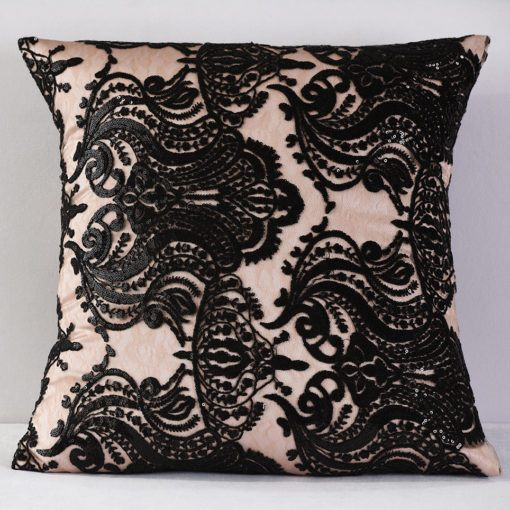 Blush and Black Sofia Pillow
