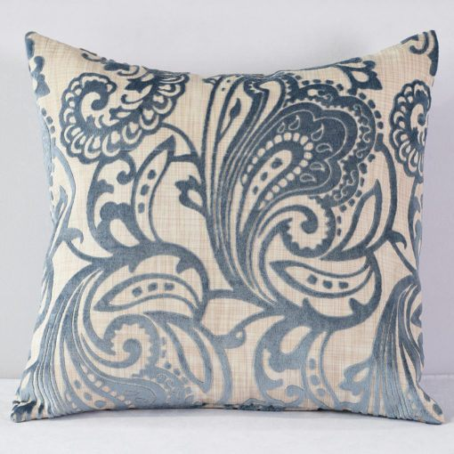 Cornflower Blue Hemp Flocking Pillow