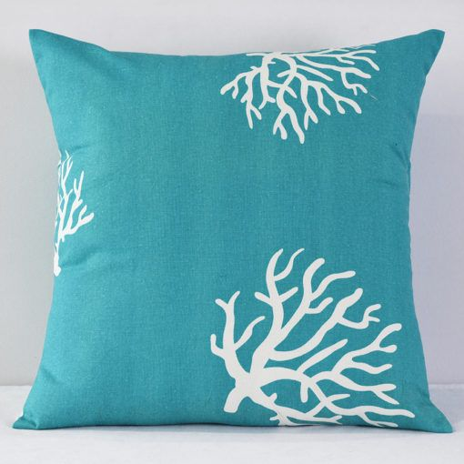 Turquoise Coral Print Pillow