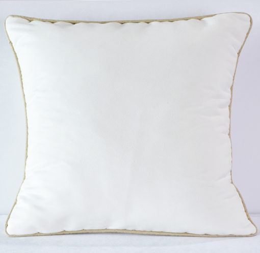 White Suede with Latte  Pipping Pillow