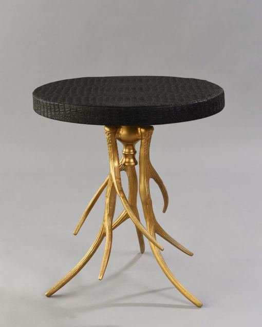 Gold Aspen Table with Black Croc Cover