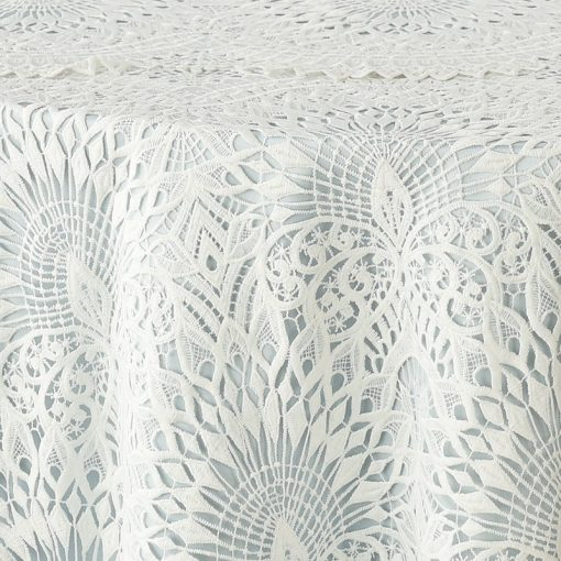 White Peacock Lace over Powder Blue Lamour Satin